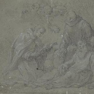 두 수도승 사이에서 죽어가는 성 수도자