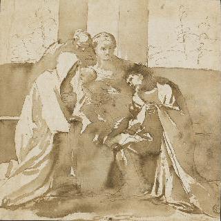 두 수도승의 찬양을 받는, 아기를 안고 있는 성모와 성 요셉