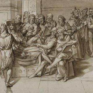 화가들에게 해부학수업을 하는 미켈란젤로