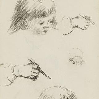 습작 종이 : 아이의 두 개의 두상과 손 습작 3점