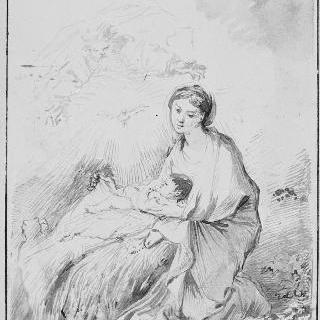 아기 예수를 안고 있는 성모를 바라보는 성부와 성령