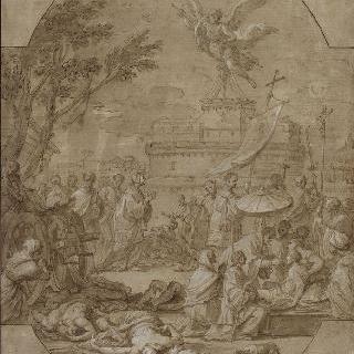 페스트 환자들에게 영성체를 올려주는 성 그레고아르