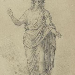 주름진 천을 두르고 후광에 둘러싸인 인물 : 비르길리우스