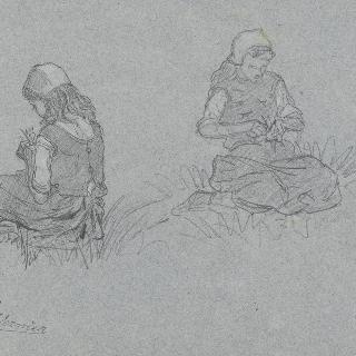 풀밭 위의 앉아있는 두 명의 브르타뉴 젊은이 습작