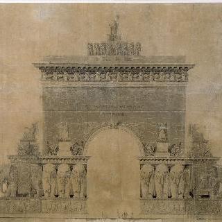 1794년 콩쿠르에서 상을 탄 개선문 계획안과 나폴레옹의 영광으로 변형