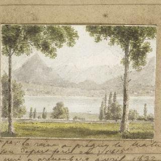 프레그니의 레만 호수의 전경