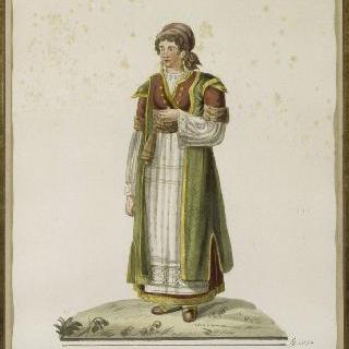 전통 의상을 입은 젊은 이탈리아 여인