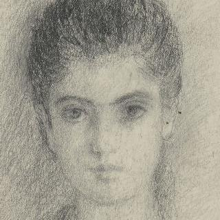 목까지 보이는 어린 소녀의 정면 초상