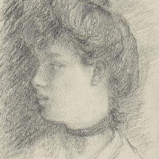 머리를 올려 묶은 어깨까지 보이는 젊은 여인의 측면 초상