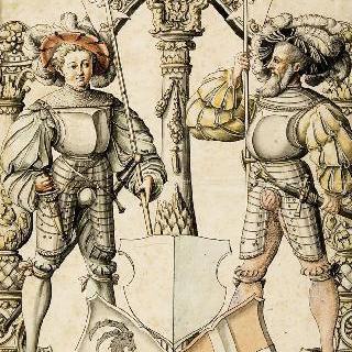 두 개의 문장의 지주 역할의 무장한 두 남자들