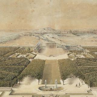 그림 안쪽의 파리와 정원쪽의 벨뷔 성의 전경
