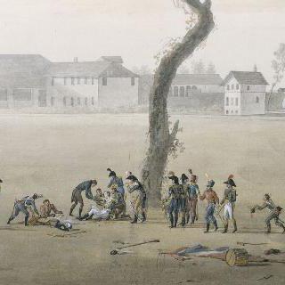 마렝고에서의 드사익 장군의 죽음. 1800년 6월 14일 마을의 전경
