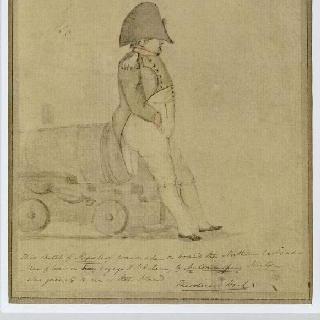 세인트 헬레나 섬으로 출범하는 노스엄버랜드의 포가 위에 앉아있는 나폴레옹 1세
