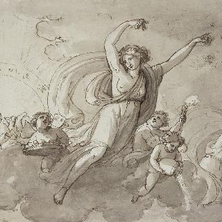 밤을 내쫓는 오로라와 아폴론 전차의 앞부분 (앞면), 이오니아식의 주랑 (뒷면)