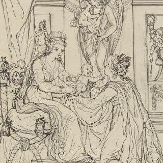 프랑스의 손에 왕태자를 안겨주는 마리 앙투아네트, 1781년