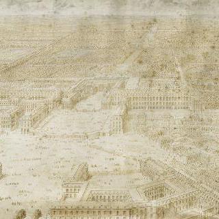 1684년 도시쪽에서 날고 있는 새가 보듯이 본 베르사유궁의 원근화법 정경