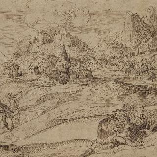 인물들과 산이 있는 풍경