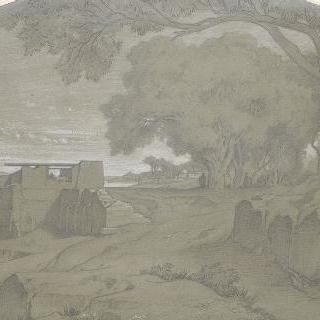나일강가의 에스네 부근의 풍경