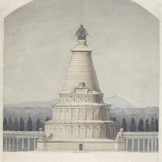 파리 수호 기념 묘비 계획안 : 기념물의 중앙 부분