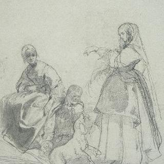개와 놀고 있는 여인과 아이