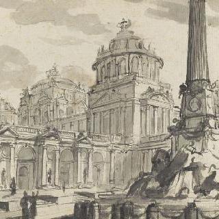 둥근 지붕이 있는 건축물과 샘이 있는 광장