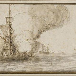 해적들의 공격을 받은 범선
