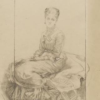 합장한 손과 정면 얼굴의 왼쪽의 4분의 3상의 앉아있는 여인