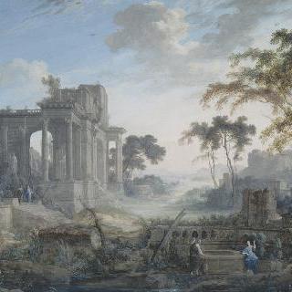 고대 폐허의 거대한 풍경 속 그리스도와 사마리아 여인