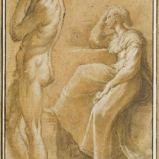 벌거벗은 남자의 왼쪽 측면과 얼굴을 팔꿈치에 괴고 기대어 앉아있는 여인