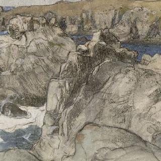 브르타뉴 외섬 바닷가의 바위들