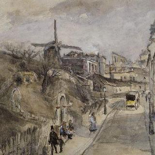 몽마르트의 르픽 거리 ; 왼쪽, 물랭 드 라 갈레트