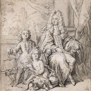 아이들과 함께 앉아있는 대법관의 초상