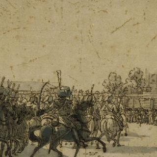 1809년 여름 쇤브룬 성의 황제 앞에서의 경기병 행렬