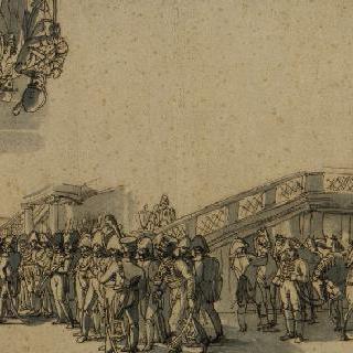 1809년 여름 쇤브룬 성의 앞 층계 앞에서의 황제와 참모