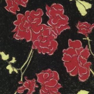 검은 배경의 붉은 꽃들과 노란색 잎