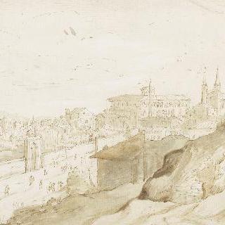 라트란 왕궁으로 향하는 길이 있는 로마의 전경