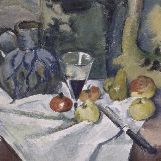 과일, 파란색 항아리와 포도주잔