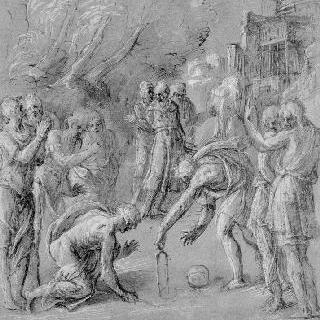 남자 군상들 가운데 바닥에 기하학적 도형을 그리는 두 남자