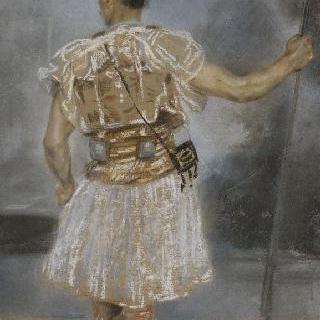 소총을 들고 서 있는 동양인 병사의 뒷모습