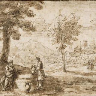그리스도와 사마리아 여인이 있는 풍경