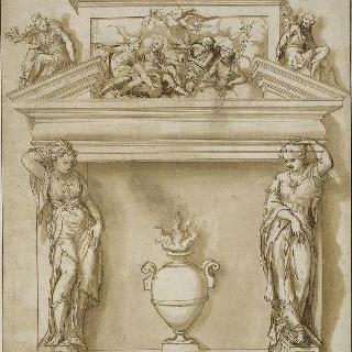 벽난로의 장식 : 두 개의 여인상 기둥과 달걀 모양의 반궁륭 아치