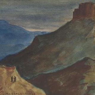 고지 위의 성채와 작은 언덕 위의 두 사람 (그림 앞쪽)