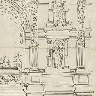 고전주의 양식의 묘비의 우측 부분