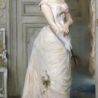 장밋빛 야회복을 입은 조제 마리아 드 에레디아 부인의 초상 (1842-1905), 시인