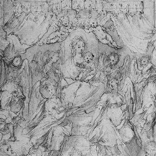 왕좌에 앉은 아기 예수와 성모