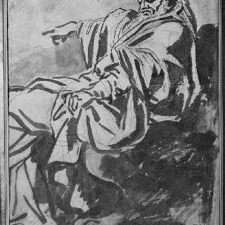 좌측 방향의 수염난 주름진 천을 두르고 앉아있는 남자