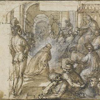 교황 앞 신의 축복을 받은 앙브로지오 산세도니