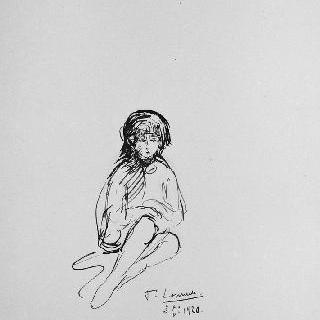 앉아있는 아이의 정면 초상