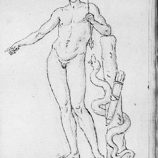뱀이 똬리를 튼 나무 줄기에 팔을 기댄 나체의 청년
