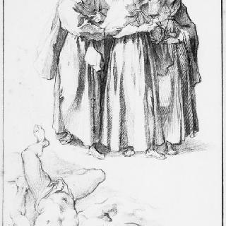 성녀 클레어, 두 동행인과 누워있는 두 남자들